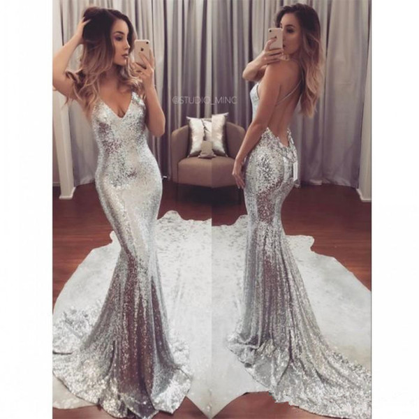 Sexy Silver Sequin Evening Dresses Long V Neck Cheap Party Gowns Backless Sweep Train Formal Prom Dress for Women