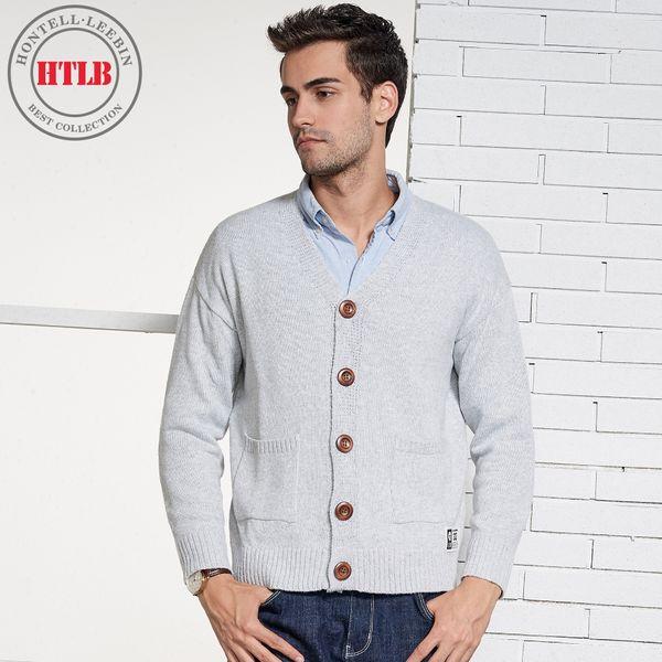 HTLB Brand 2018 New Winter Casual Button Cardigan Sweater Coat Men Autumn Fashion Pockets Sweater Knitwear Coats Men
