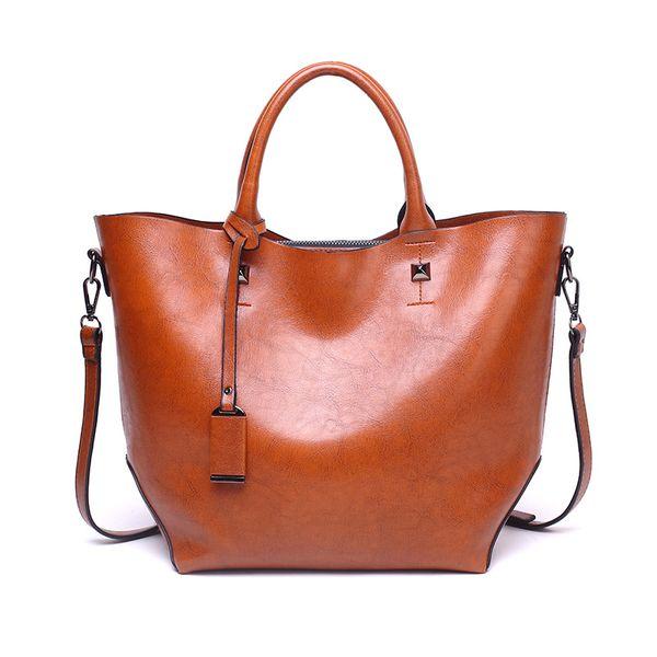 2018 ladies handbag large big shoulder bag for women Brand designer Tote bag Oil Wax leather Travel bag Free Shipping