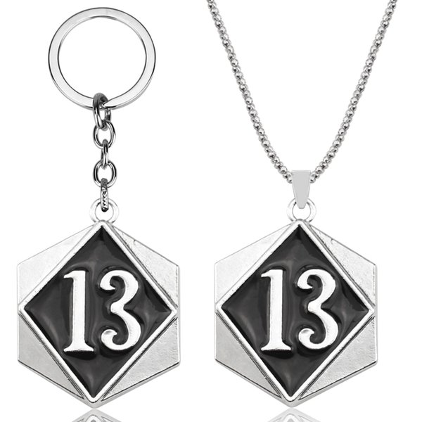 Hombres de color oro Vintage Biker Lucky Number 13 etiqueta colgante collar con 24