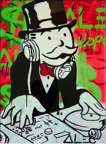 Handgemalter HD Druck Alec Monopoly Herr Brainwash Graffiti-Pop-Art-Ölgemälde der DJ auf Segeltuch / Rahmenwahlen g274