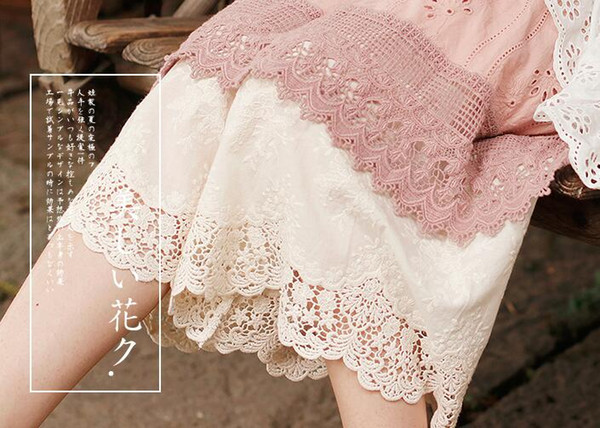 Sweet Mori Girl Pure Cotton Loose Lace Embroidery Trousers Wide Leg Pants Basic Palazzo Gothic Pants Female High Waist