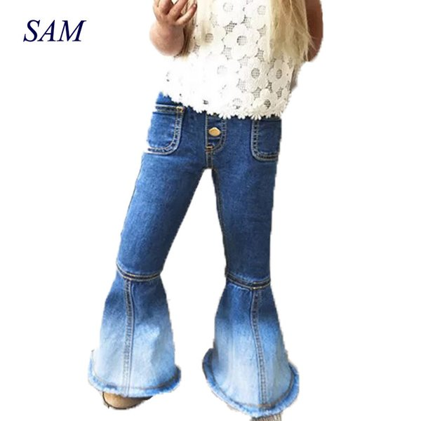 2018 girls fashion boot cut jeans Cowboy wide leg metal buttons elastic waist pants children Mermaid Splicing legs clothes