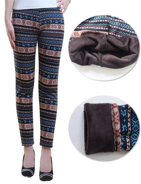 TWB24 Elastic Faux Velet Snowflake Printed Leggings Winter Soft Warm Leggings Fashion Slim Stretch Thick Women Warm