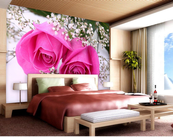 3d brick wallpaper Beautiful pink roses sky star living room wall ...