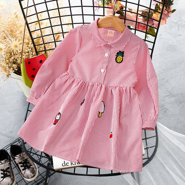 Girl Autumn Dress Korean 2018 New Pattern Long Sleeve Stripe Shirt Skirt Woman Baby Autumn Clothing Western Style Princess Skirt