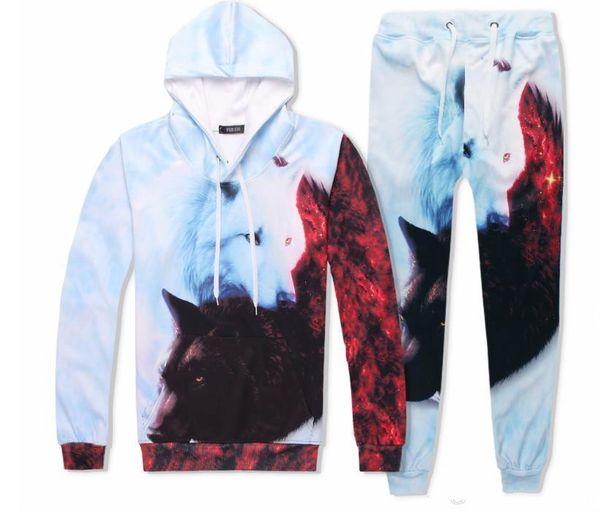 Women Men Wolf 3D Pullover Hoodies Sweatshirt pants Tracksuit sweat suit jogger