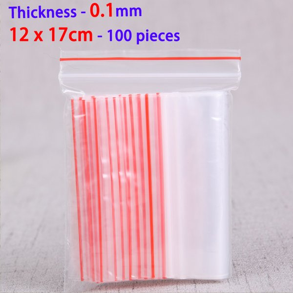 100pcs 12x17cm Ziplock Zip Zipped Lock Reclosable Plastic Bags Food Storage Jewelry Packaging Bags Resealable Poly Clear Bag