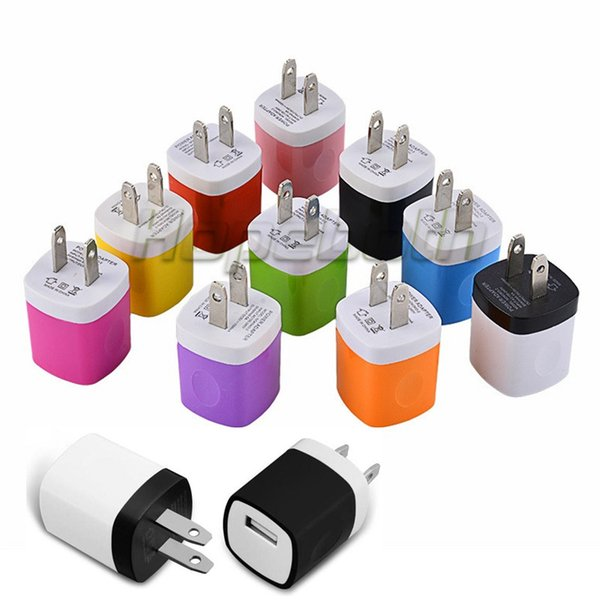 200pcs Colorful 5V 1000mah 1A US Ac home wall charger power adapter for iphone 5 6 7 for samsung galaxy note 2 4 s6 s7 gps mp3 mp4
