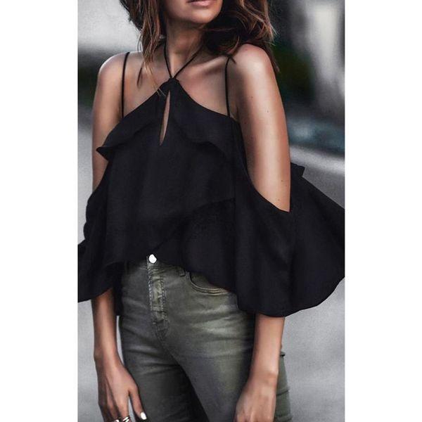 Schwarz Sexy 2018 Frauen Sleeveless Boho Kleid Hater Neck Cirs Kreuz Backless Party Sommer T-Shirt FS5527
