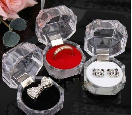 best selling Jewelry Package Boxes Ring Holder Earring Display Box Acrylic Transparent Wedding Packaging Storage Box Cases