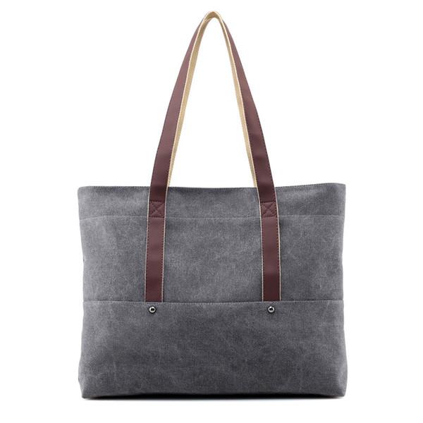 2018 new canvas women's bag single shoulder handbag simple shopping bag fashion leisure large capacity