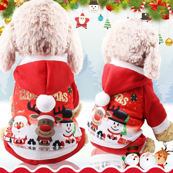 Christmas Dog Coats Puppy Hooded Sweatshirts Funny Small Dog Pullovers Cartoon Pet Dogs Outerwears Santa Elk Printed Pet Supplies YW1608
