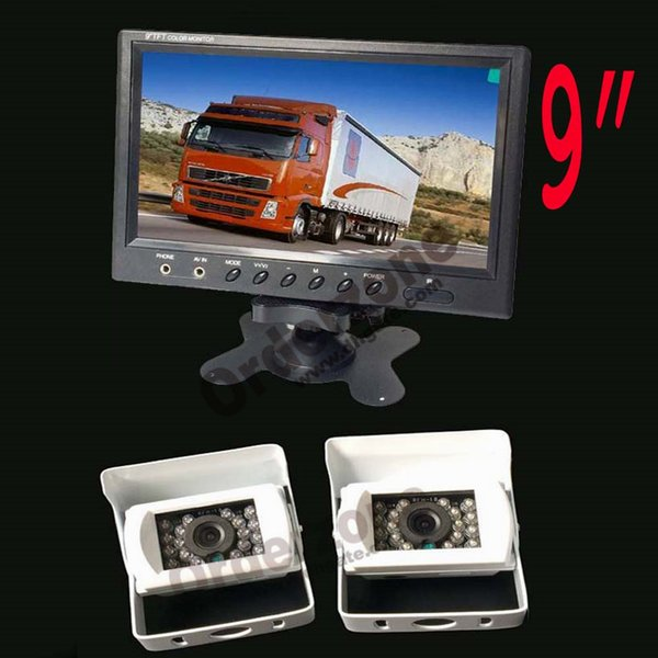 """2x White 18 LED IR CCD Reverse Parking Backup Camera 12V 24V+ 9"""" inch LCD Car Rear View Monitor Screen for RV Truck Bus Trailer Camper"""