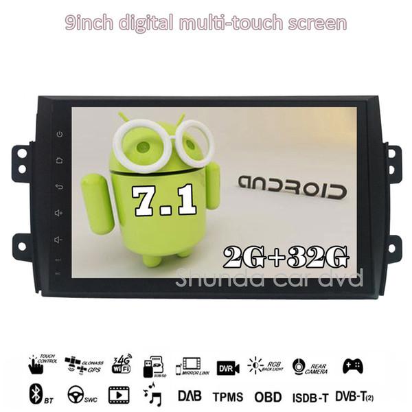 SHUNDA 9inch HD 1080P Android 7.1 T3 2G 16G Car DVD Player for Suzuki SX4 2006-2013 with Radio BT 4G WIFI SWC GPS free map