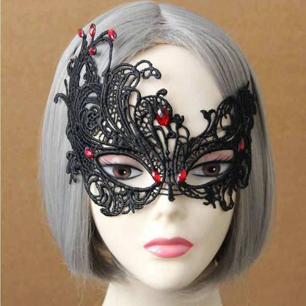 Gothic Azrael Zombie Mask Halloween Female Mask Half Face Sexy Black Lace Masquerade Mardi Gras Mask Party Decoration Cosplay
