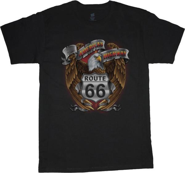 2018 Fashion 100% Cotton Slim Fit Top Rt 66 Sign Eagle Biker Usa Tee Shirt Tall Shirts For MenSleeve Men Tshirt Fashion