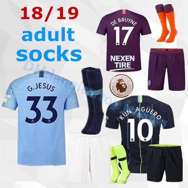 new product e7ada afd8d 2018 Manchester City Soccer Jersey Third Red Away Black 18 19 Men Kit  Mahrez Silva Sane De Bruyne Adult Set 2018 2019 Kun Aguero Sterling Shirt  From ...
