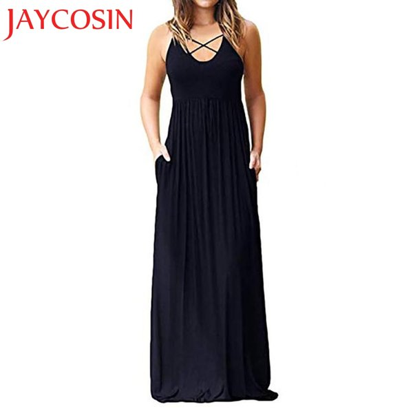 2018 dress Women Solid Sleeveless Criss Cross Front Boho Evening Long Dresses With Pockets Dropshipping July 30