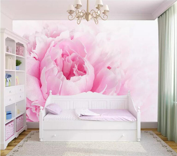 Custom Photo Wallpaper Murals 3D Romantic Pink Flower Children Princess Room Bedroom Wall Decoration Mural Wallpaper For Walls