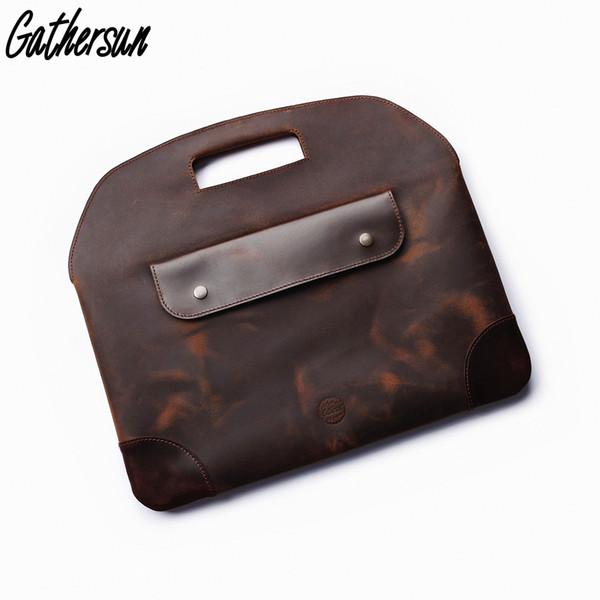 Men Briefcase Bag Leather Handmade Vintage Crazy Horse Leather 13 inch Laptop Messenger Bag Men Office Handbag Briefcase