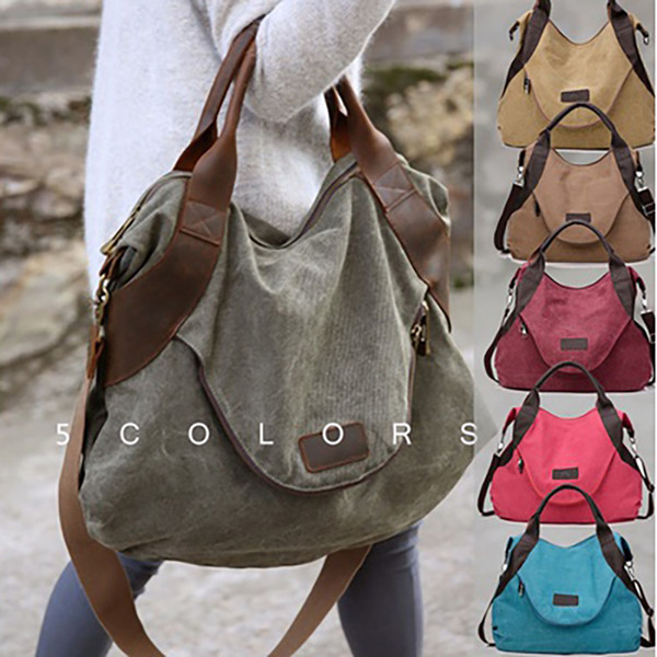 Women's Casual Large Pocket Handbag Shoulder Cross Body Handbags Canvas Leather Large Capacity Bags for Women
