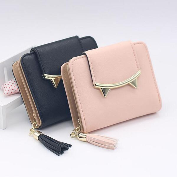 2018 Korean Cute Cat Anime Leather Trifold Slim Mini Wallet Women Small Clutch Female Purse Coin Card Holder Dollar Bag Cuzdan