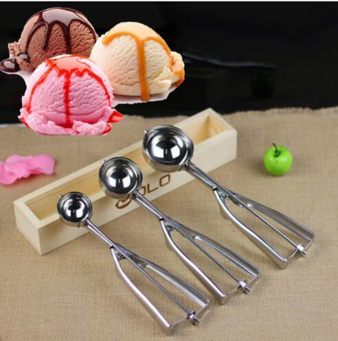Cuchara de helado Útil Cuchara de acero inoxidable Galletas de sandía Melón Bolas Cuchara de helado Cuchara 4 cm 5 cm 6 cm KKA5029
