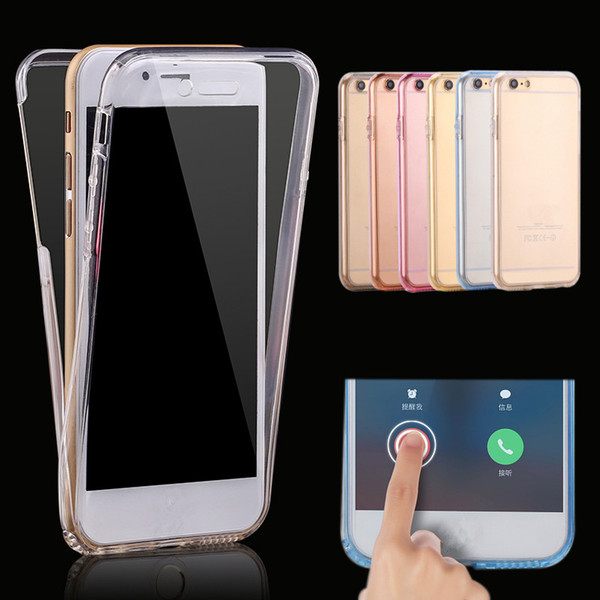 For iphone X 8 7Plus 6S 360 Degree Full Body Soft Transparent Case Double Sided TPU Cover For Samsung Galaxy S9 S8