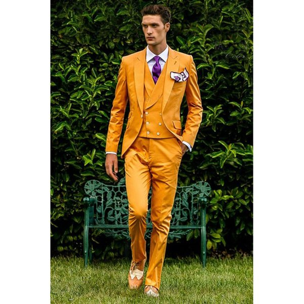 2018 Yellow Double Breasted vest Men Suit Slim Fit 3 Piece Tuxedo Italian costume homme Blazer Groom mens suits Terno Masculino