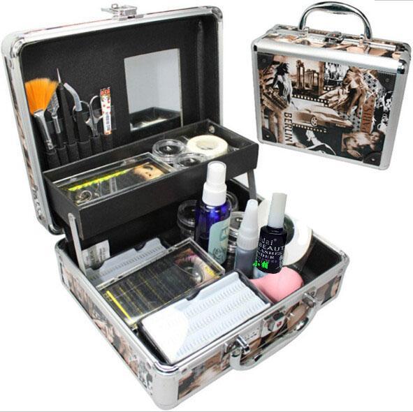 baisidai Professional False Eye Lash Eyelash Extension Full Kit Tools Glue Set With Case