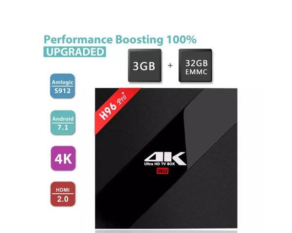 H96 Pro TV Box 3GB 32GB S912 Octa-core android 7.1 tv boxes 4K Ultra HD video streaming AC-dual WIFI BT4.1 television media player
