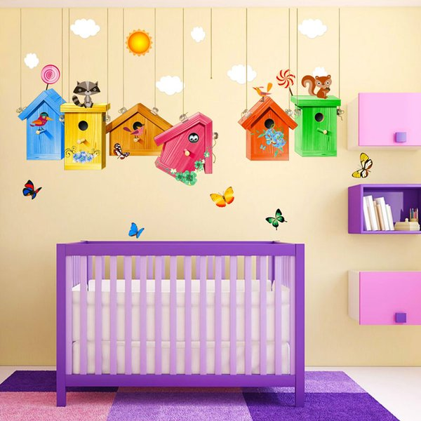 New Colorful Birdcage Wall Stickers Art kindergarten Wall Decal For Home Living children Room Free shipping