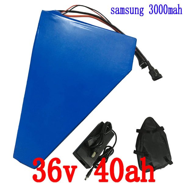 1000W 36V 40ah triangle battery 36V Electric Bike E-Scooter battery Use for samsung cell with Free bag 30A BMS 2A Charger