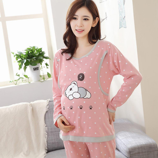 Autumn Nightgown Adjustable Pajama Maternity Clothes for Pregnant Women Cute Bear Mothers Breastfeeding Sleepwear Sets
