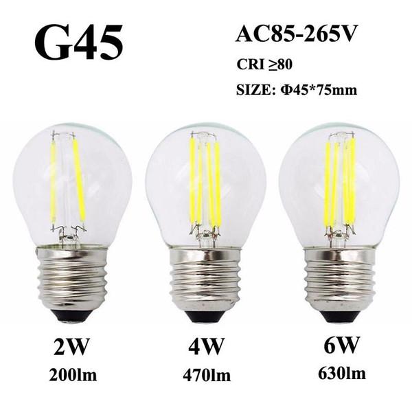 Bombilla de filamento LED E26 E27 2W 4W 6W G45 360 ° Lámpara de vidrio transparente 110V / 220V / 240V Luz de vela Edison para lámpara de cristal colgante
