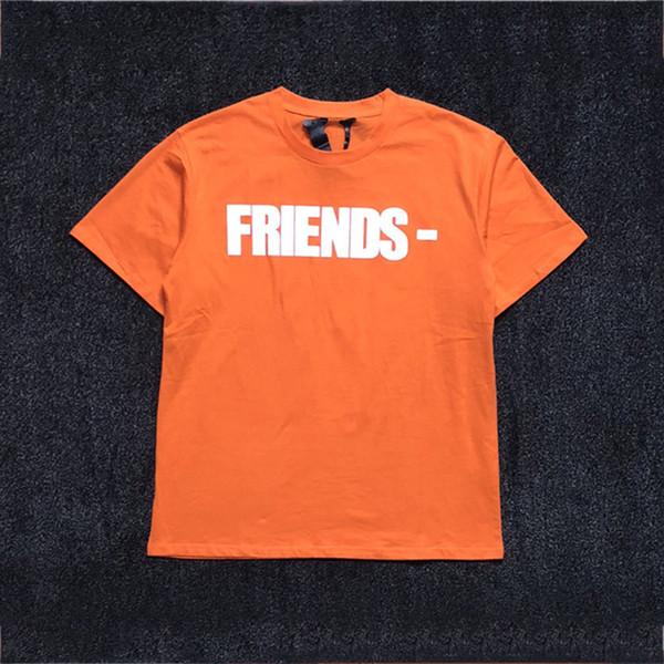 Vlone Friends Orange T-shirt hombres mujeres camiseta harajuku camiseta punky hip hop streetwear marca verano ropa de algodón camisetas de impresión tops 2019