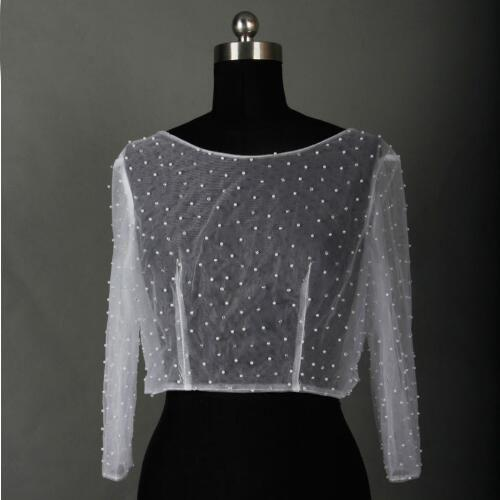 2018 New Style Full Sleeve Bridal Jacket With Pearls Button Back New Brand Wedding Bolero Competitive Price