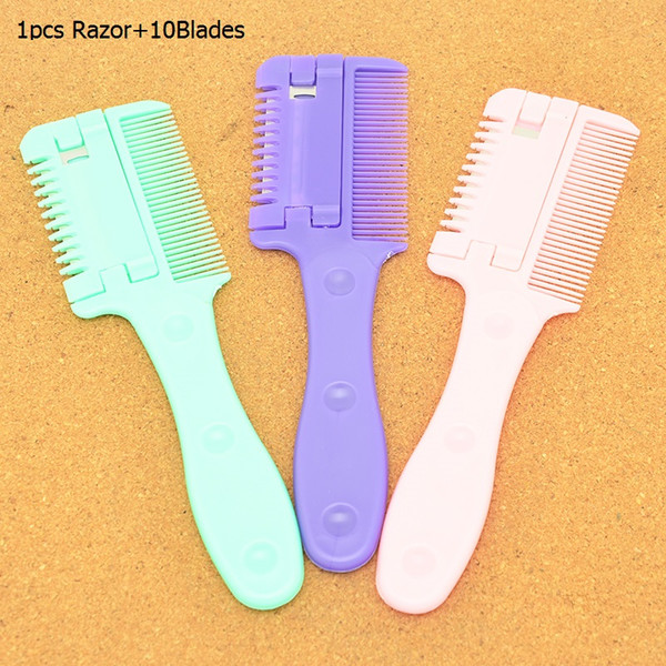 Meisha Salon Hair Cutting Thinning Razors Comb with 10Blades Body Back Shaving Hair Knife Hair Removal Grooming Tools for Men Women HC0002