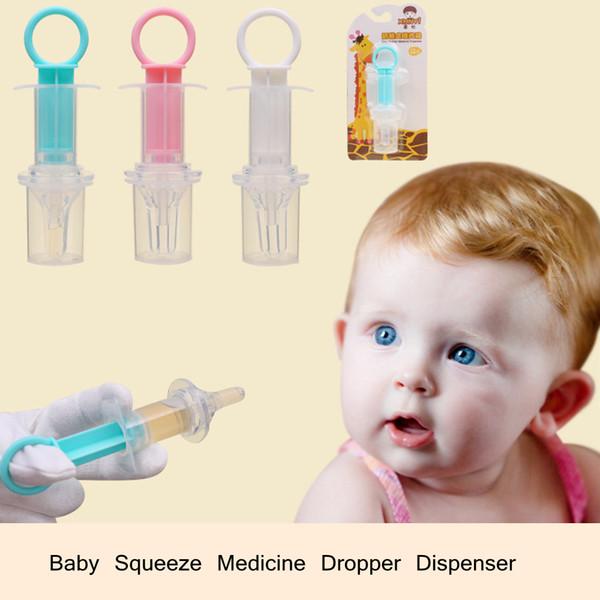 Baby Squeeze Medicine Dropper Dispenser Soft Silicone Kid Given Feed Medication Utensil Infants Syringe Device Nipple needle Feeding LJJA564
