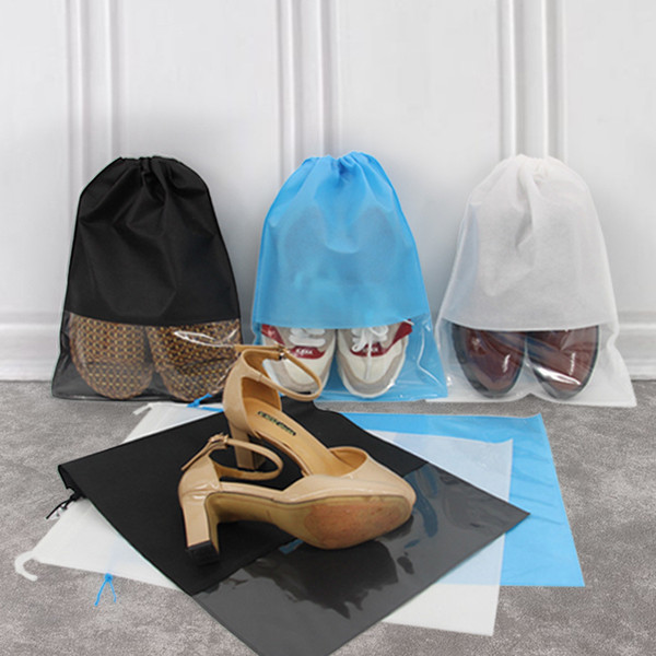 3 Colors Non Woven Shoes Storage Bags Slipper Drawstring Bag Shoes Storage Bag with Transparent Window
