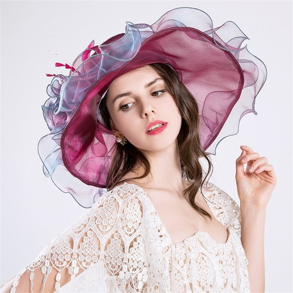 Fashion Wide Brim Hat Embroidered Rayon With Big 3D Flower For Women Brand Luxery Sun Protection Grace Garden Kentucky Derby Party 35js hh