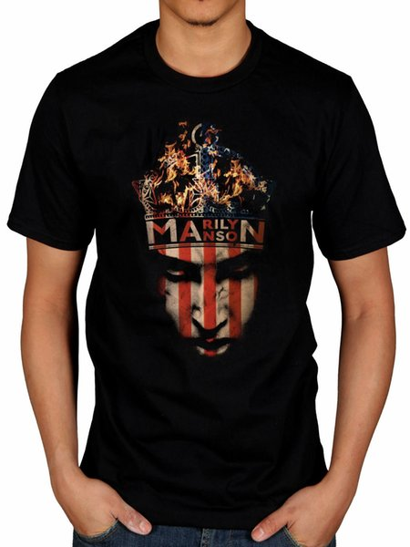 Official Marilyn Manson Crown T-Shirt The High End Of Low Last Tour On Earth 2018 Men'S Lastest Fashion Short Sleeve Printed funny