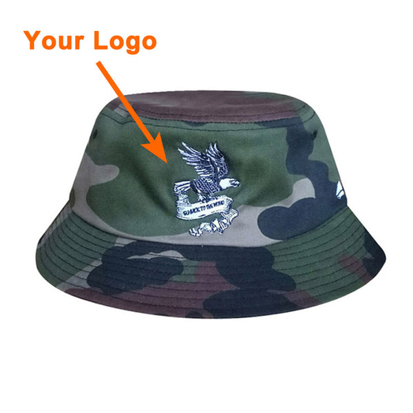 Bucket style cotton fabric unisex camo color printing logo clothes accessories low amount outdoor sport sun cap custom bucket hat