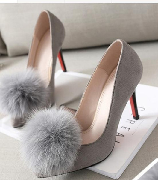 Free send 2017 spring new style hair ball pointed end Shallow mouth Single shoes Fine heel high heel women shoes