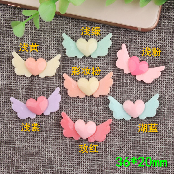 36*20mm Love heart wing charms resin children DIY hair rope hairpin accessories butter cream mobile phone shell material