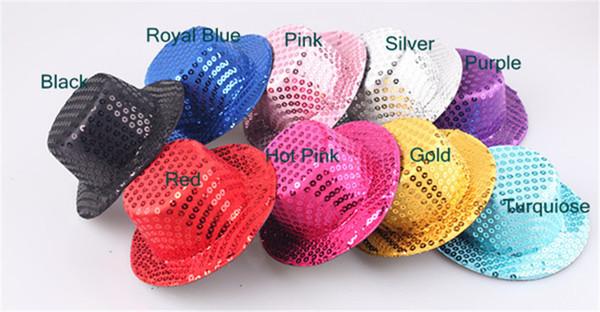 Wholesale 5.2''/13cm Sequin Mini Top Hats For Kid Diy Girls Show Party Paillettes Headwear Hat Base Diy Fashion Hair Clip Accessories