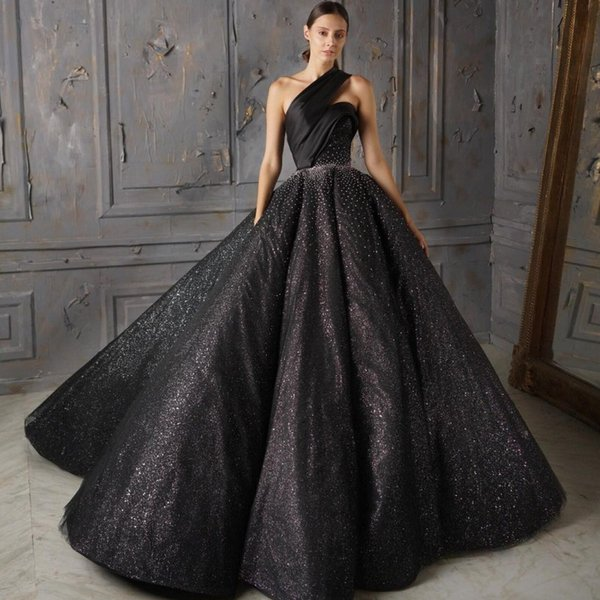 One Shoulder Sleeveless Evening Dresses Gorgeous Sexy Black Ball Gown Prom Dresses Sparkly Sequins Beads Sleeveless Red Carpet Dresses