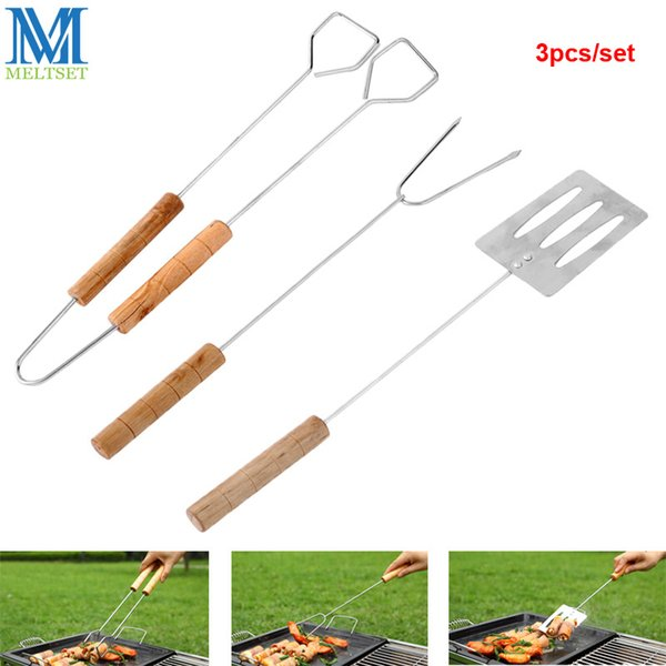 Meltset 3pcs/set Barbecue Fork Tong Shovel BBQ Tool Set Wooden Handle Charcoal Clamp BBQ Grill Accessories