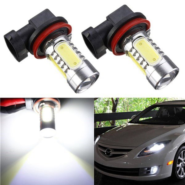 New H11 High Power Car COB LED Bulb Light Source with Projector For DRL Driving Fog Headlight Lamp, Xenon Pure White DC12V 7.5W